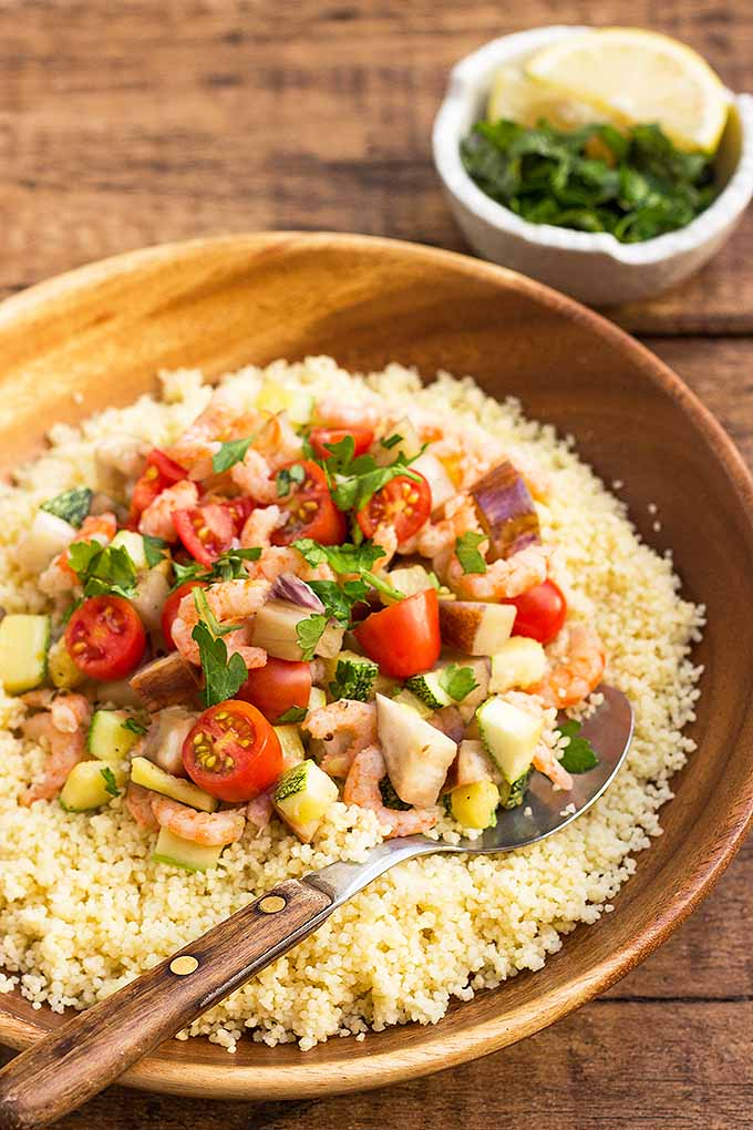Love couscous? Try our recipe that includes your favorite ingredient mixed with eggplant, zucchini, and shrimp! Make it now: https://foodal.com/recipes/pasta/homemade-couscous-with-eggplant-zucchini-and-shrimp/