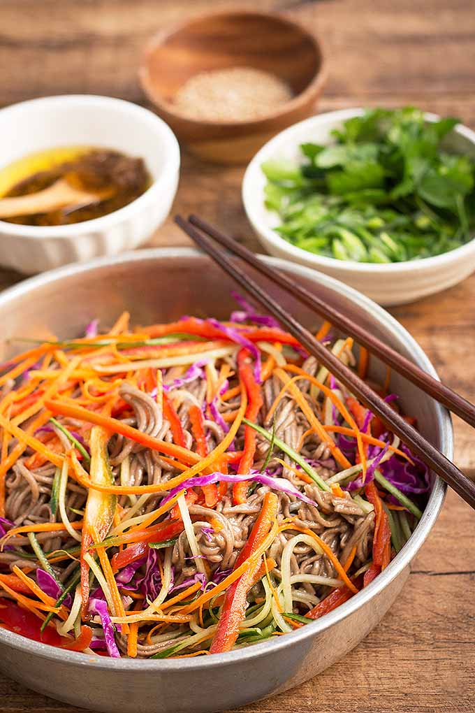 Get your chopsticks ready for a bowl of our colorful and healthy soba noodle salad with ginger soy vinaigrette. We share the recipe: https://foodal.com/recipes/sides/soba-noodle-salad/