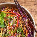 A bowl of colorful soba noodle salad. | Foodal.com