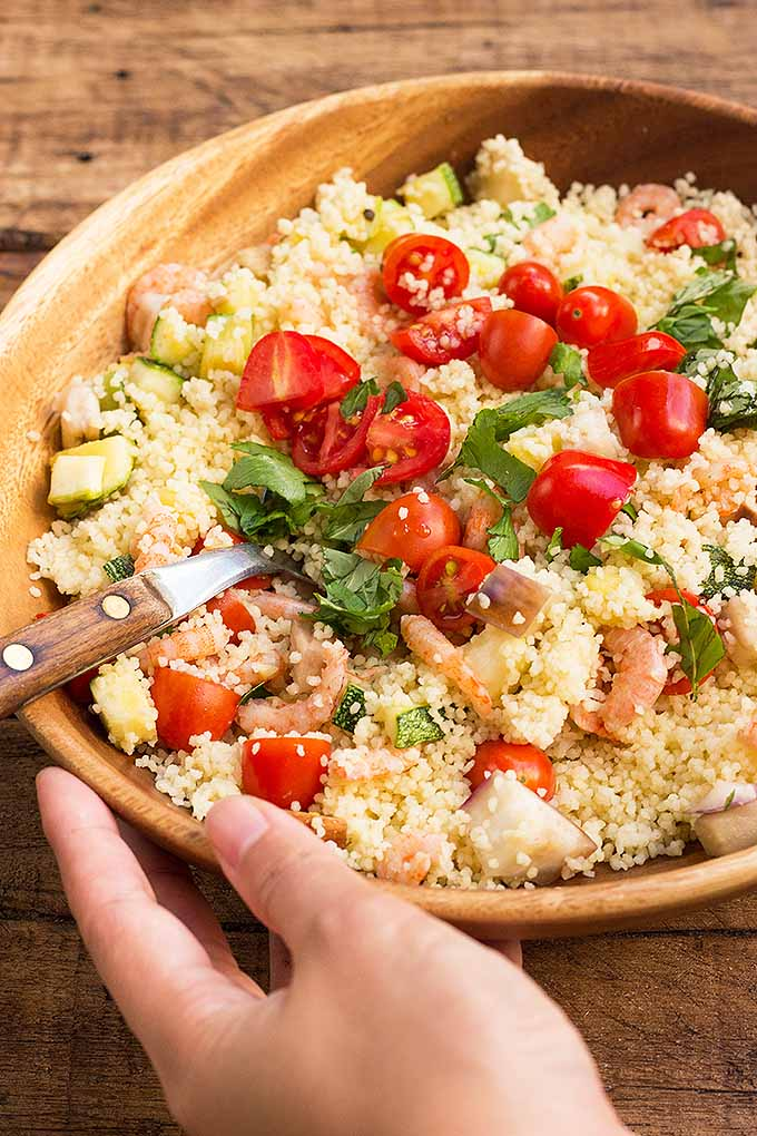Looking for a fast and healthy meal? Try our couscous with shrimp, zucchini, and eggplant. Get the recipe now: https://foodal.com/recipes/pasta/homemade-couscous-with-eggplant-zucchini-and-shrimp/