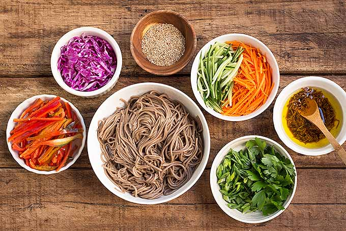 A display of all the colorful ingredients that get mixed together in our soba noodle salad with ginger soy vinaigrette. | Foodal.com