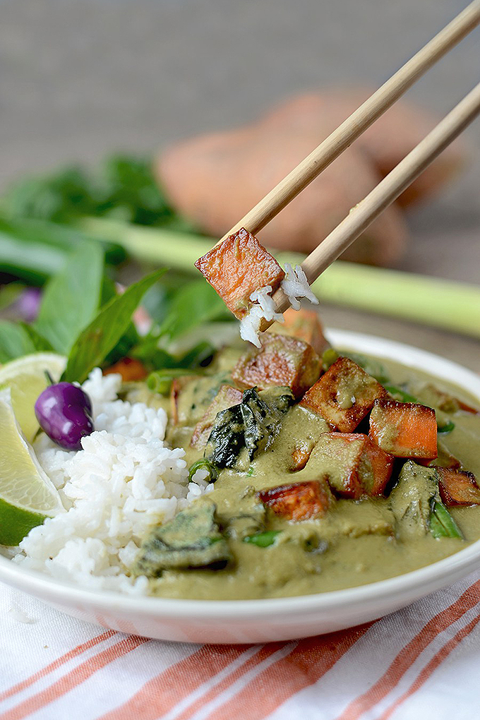This vegan green curry is just one among the many dishes we provide in our round up of 15 tantalizing Thai dishes! Check out the other flavorful recipes now: https://foodal.com/knowledge/paleo/thai-recipe-roundup/