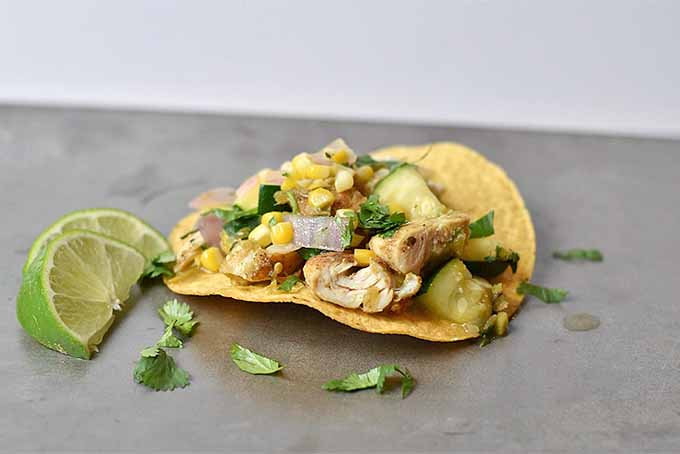 Corn Zucchini Chicken Tostadas | Foodal.com