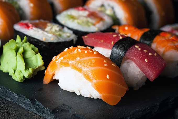 Sushi Platter with Condiments | Foodal.com