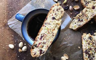 Italian Biscotti Cookies with Dried Cherries, Raisins, and Pistachios