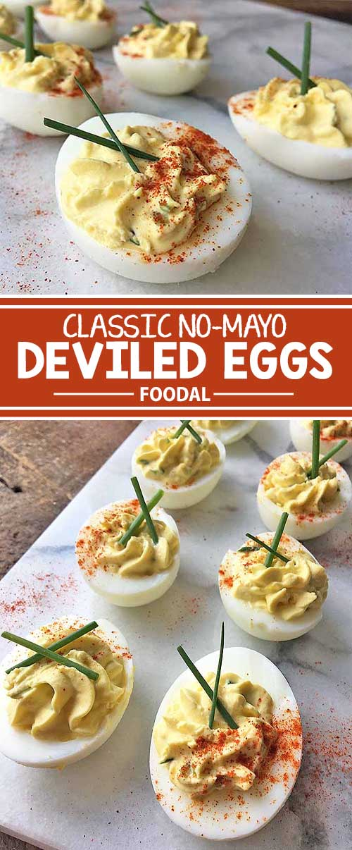 Love deviled eggs, but you're not a fan of mayo? You can still enjoy this favorite party appetizer with our tasty recipe. Instead of mayonnaise, we use an easy substitute: but you'll have to keep reading to find out what it is! Combined with the other classic ingredients like relish, mustard, and fresh herbs, you still get the same great taste, all in one bite! Get our quick update to this amazing dish now on Foodal.