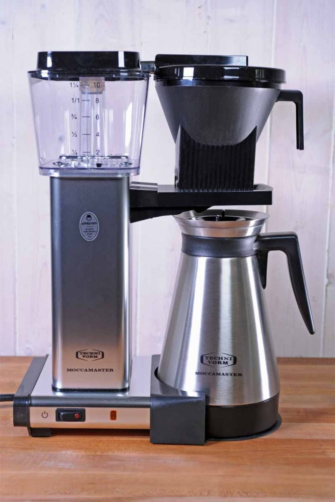 A Technivorm Moccomaster Coffee Maker being tested by the staff at Foodal.