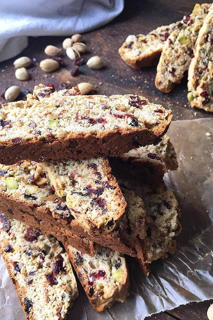Make your biscotti something extra special with dried fruit and nuts! We share the recipe: https://foodal.com/recipes/deserts/italian-biscotti-cookies-with-dried-cherries-raisins-and-pistachio-nuts/