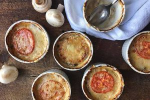 Mushroom Julienne with Tomato and Cheese