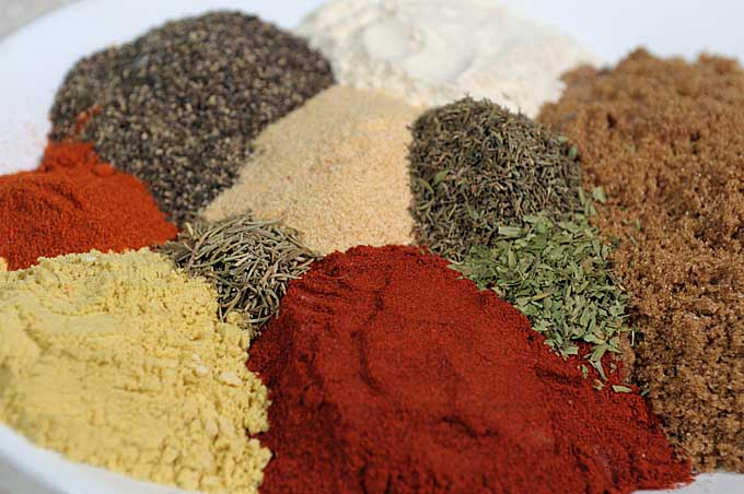 Top down view of the various spices that comprise this chicken dry rub  recipe.