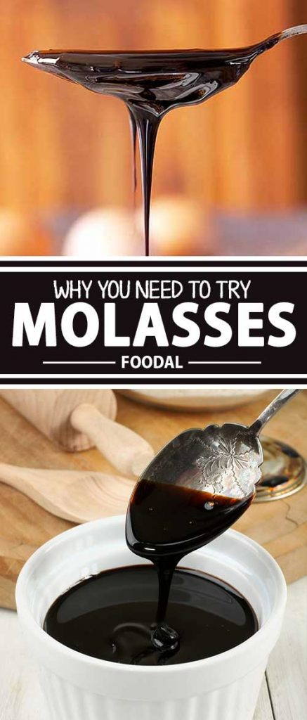 Image of dark molasses flowing from a spoon to a bowl.