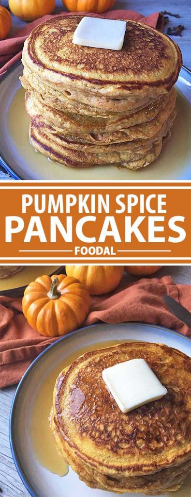 A collage showing different views of pumpkin spice pancakes.