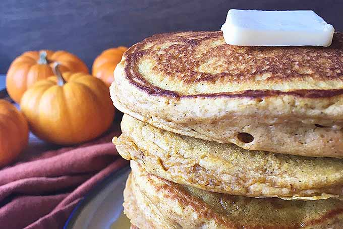 Close up, side profile view of a stack of pumpkin spice pancakes with decorative mini pumpkins in the background.