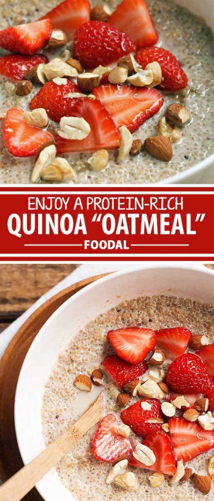 If you enjoy eating a bowl of warm oatmeal, but would like to try something different, here's a protein-rich option that uses quinoa instead of oats. Made with white quinoa, coconut milk, sweetened with vanilla and honey, and garnished with almonds and strawberries, this is one healthy and delicious way to kick off any morning. Let's get the recipe from Foodal today!