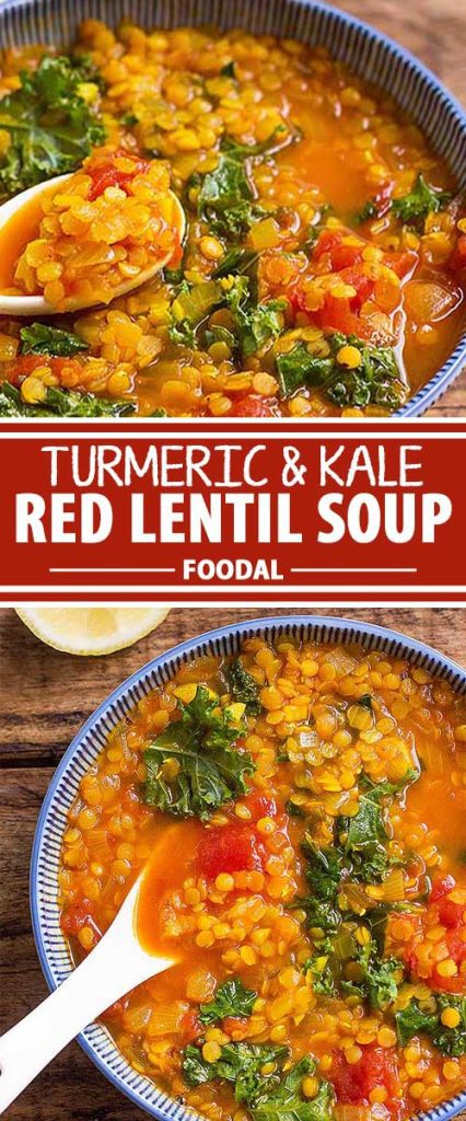 A collage of photos showing different views of the turmeric and kale red lentil soup.