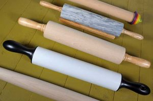 Top down view of 5 different styles of rolling Pin