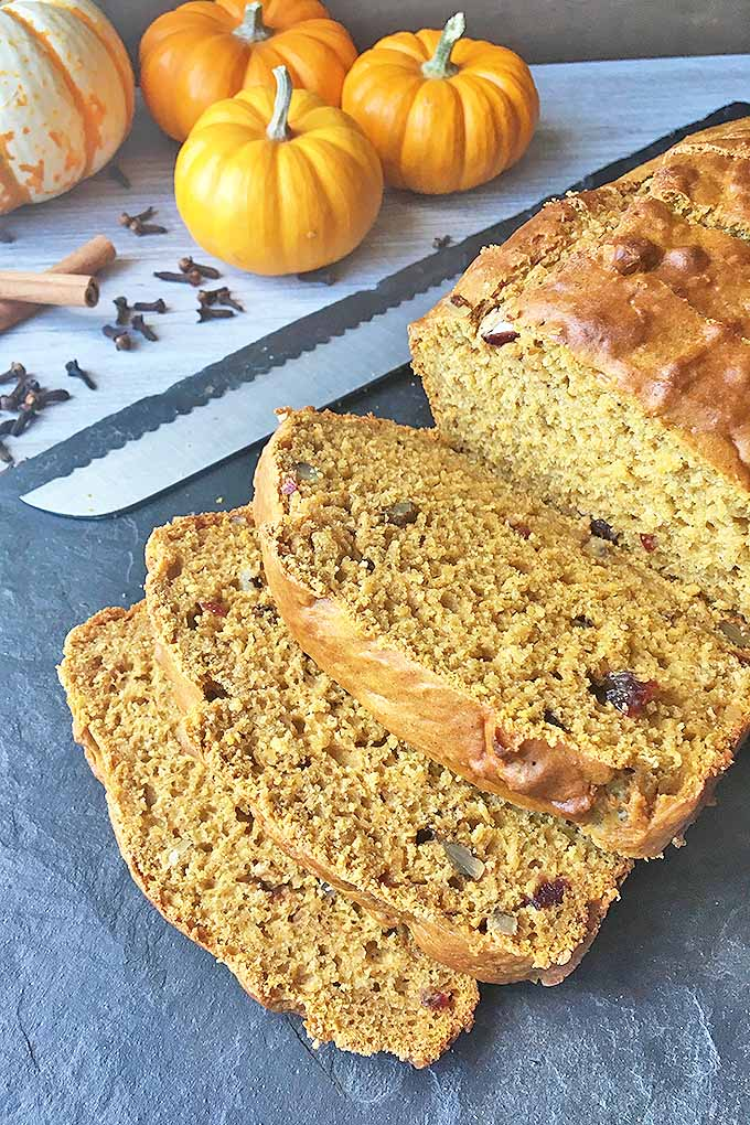 Get the best of fall flavors with our homemade pumpkin bread recipe, made with a beautiful medley of spices, nuts, and dried fruit. We share the recipe now: https://foodal.com/recipes/breads/pumpkin-spice-bread/