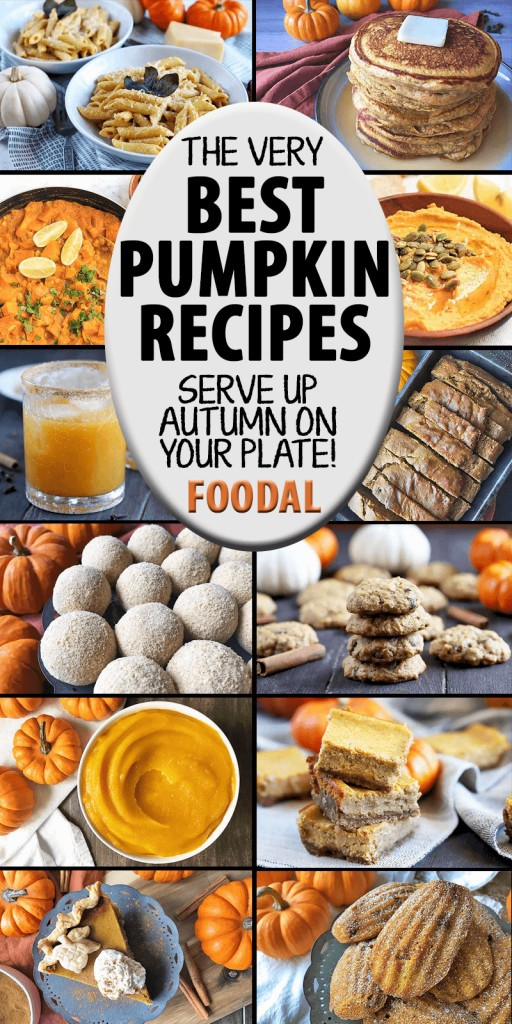 A collage of images showing different sweet and savory pumpkin recipes.