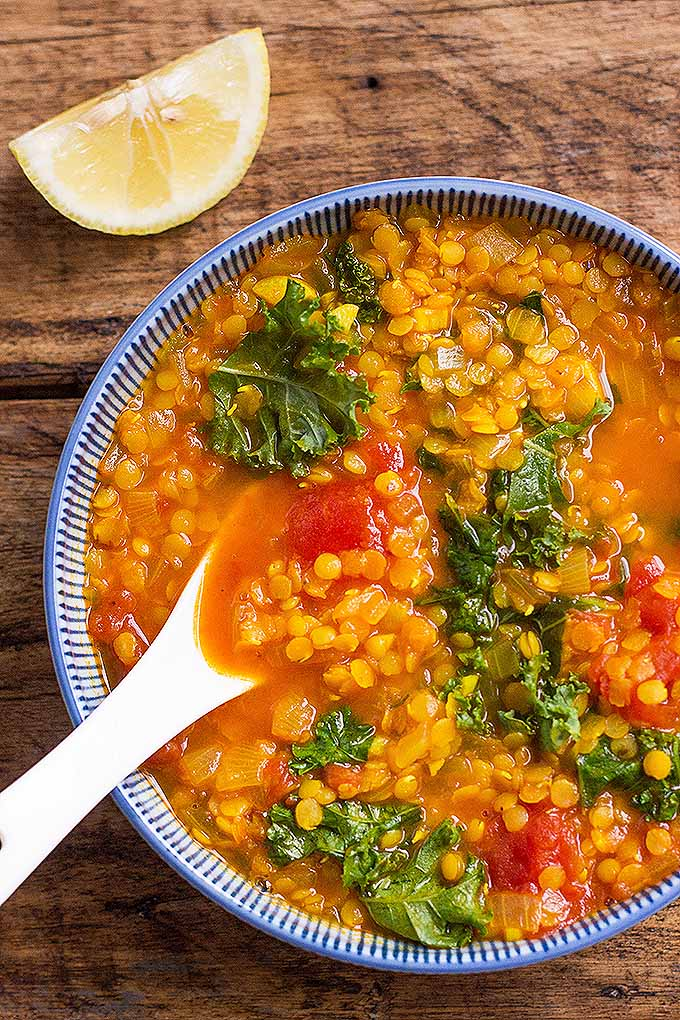 The best turmeric red lentil soup with kale foodal tender red lentils cooked in a soup flavored with turmeric and cuminlicious forumfinder Gallery