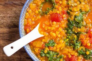 Turmeric Red Lentil Soup with Kale