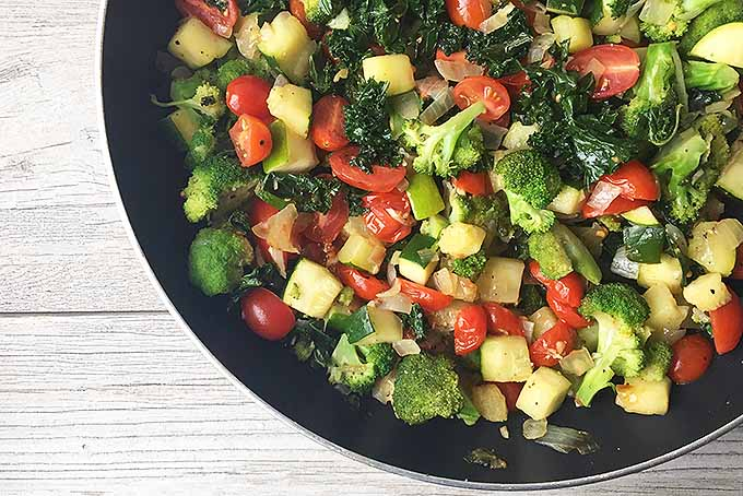 Easy Recipe for Cooked Broccoli, Zucchini, Tomatoes, and Kale | Foodal.com
