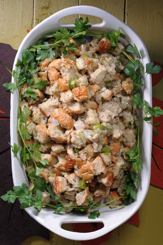 You'll never reach for a box of prepackaged stuffing again once you've tried Grandma's secret recipe. Fresh bread chunks and homemade stock means MUCH more tastier stuffing. Get the recipe on Foodal today!