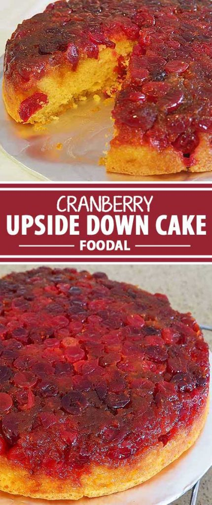 For a bold addition to your holiday baking repertoire, put the bright beauty of fresh fruit on display in this scrumptious cranberry upside down cake. The glazed fruit is a beautiful deep red hue and the cake is moist and light – perfect with coffee or a dessert wine! Join us now for the recipe and instructions.