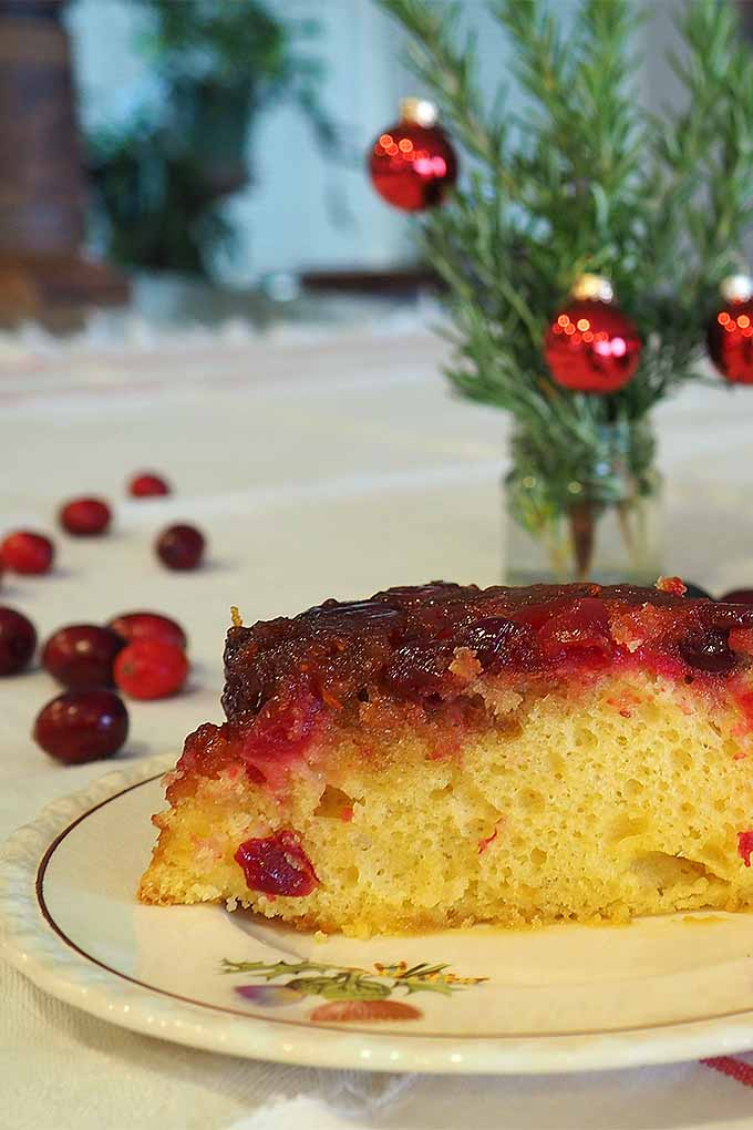 Looking for a delicious recipe to serve for dessert at your next holiday gathering? Try our recipe for Cranberry Upside Down Cake. Read more now or Pin It for later: https://foodal.com/recipes/cakes/cranberry-upside-down/ #cranberry #Christmas #dessert #upsidedowncake