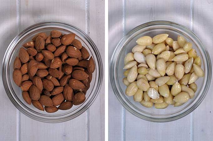 Two photos showing roasted almonds on the left side and blanched almonds on the right side | Foodal
