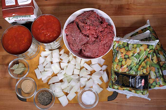 All of the ingredients assembled for the hamburger soup recipe | Foodal