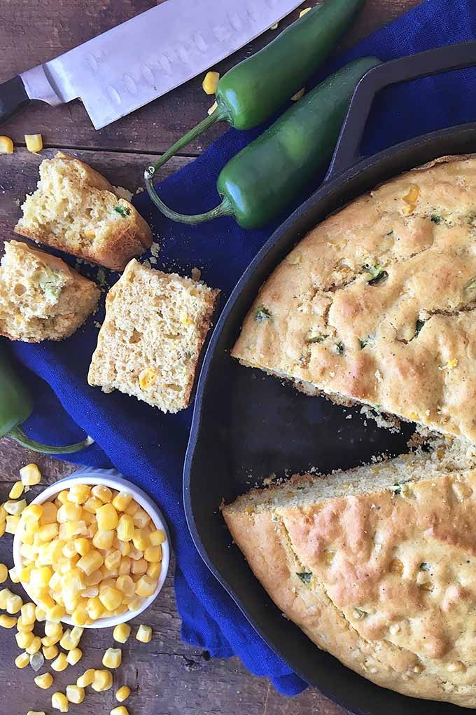 Our fresh and fluffy cornbread is made with whole corn kernels and spicy jalapeno peppers, and is baked in a skillet for a rustic presentation. We share the recipe now: https://foodal.com/recipes/breads/jalapeno-skillet-cornbread/