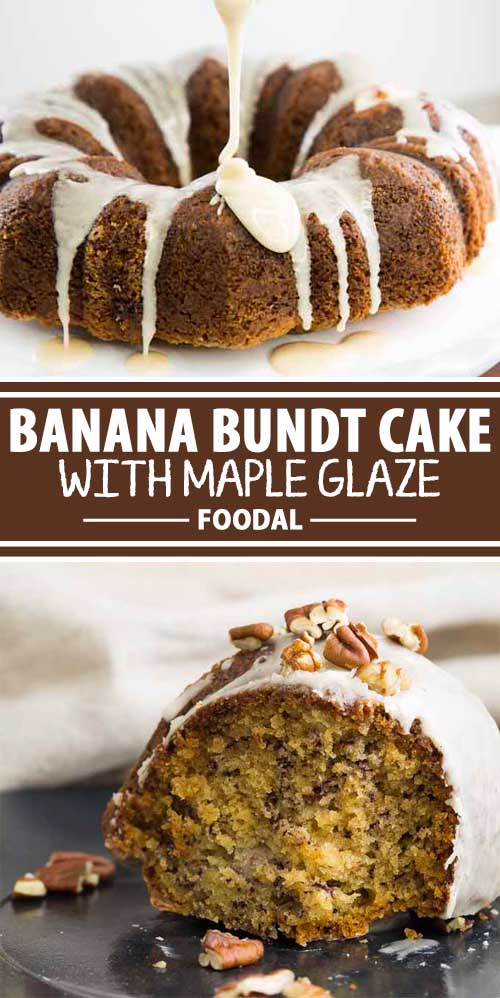 A collage of photos showing different views of a banana bundt cake with maple glaze.