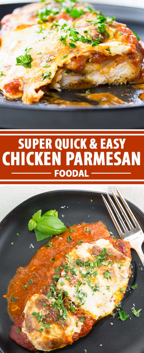 This is one of the easiest Italian meals that you can whip together. In and out in under 50 minutes. And, most ingredients are optional so you can change things up to your liking. Get the basics in there: chicken, breading, tomato sauce, mozzarella, olive oil, and spices, and you can call it good. Add extras if you've got the time and the ingredients. Mushrooms, fresh basil, and different cheeses can turn this easy-to-make dish into something special – and we'll show you how!