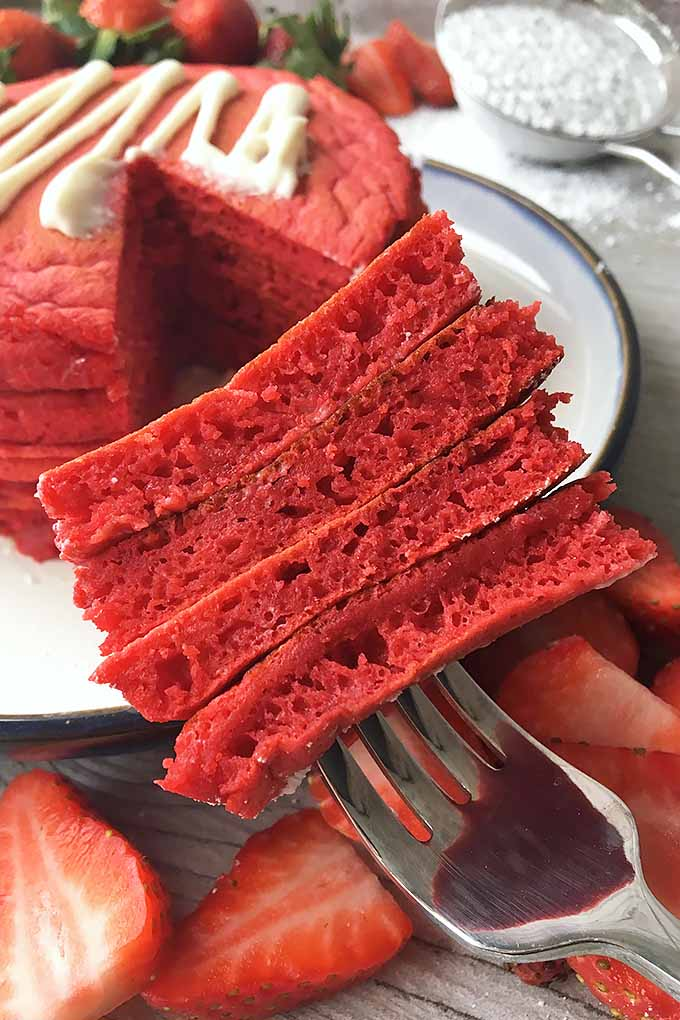 Four Layers of Red Velvet Pancakes | Foodal.com