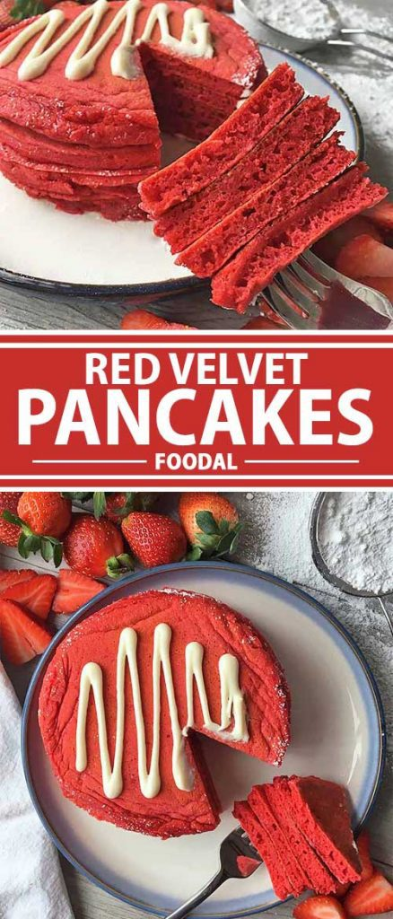 Love the flair of a beautiful red velvet cake? Get the same gorgeously hued dessert right when you wake up! Topped with a sweet and velvety cream cheese glaze and served with strawberries, our red velvet pancakes are perfect to celebrate any special occasion first thing in the morning. Get this decadent recipe now on Foodal!