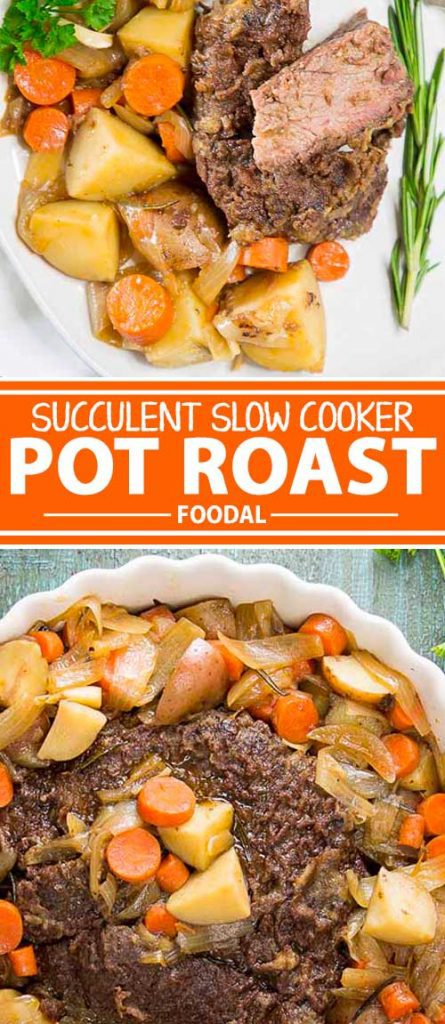 A collage of photos showing different views of a homemade slow cooker pot roast with carrots and potatoes.