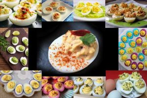 A photo collage of different types of deviled eggs.
