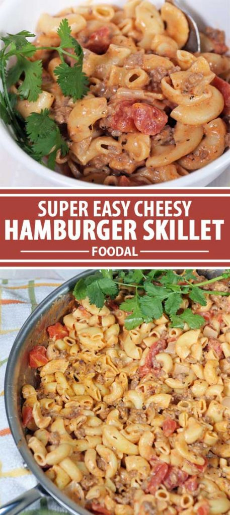 A collage of photos showing different views of the completed Easy Cheesy Hamburger Skillet recipe.
