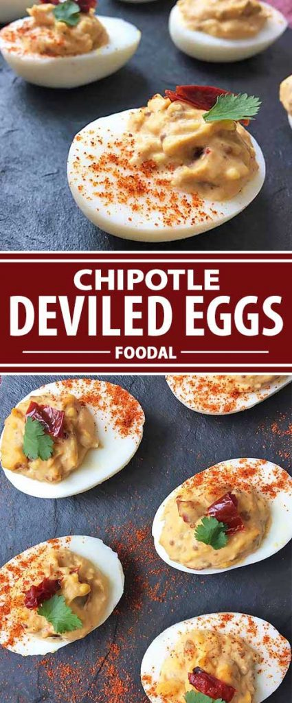 A collage of photos showing different views of a chipotle deviled egg recipe.
