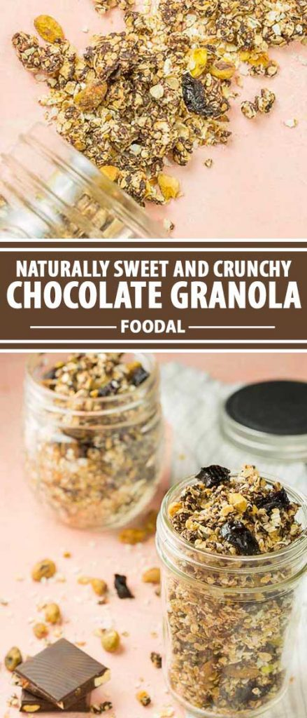 A collage of photos showing different views of a chocolate granola cereal recipe.
