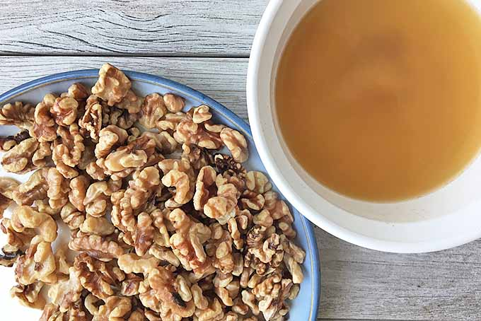 Horizontal image of a plate of walnuts and a bowl of tan liquid on a gray wooden surface.