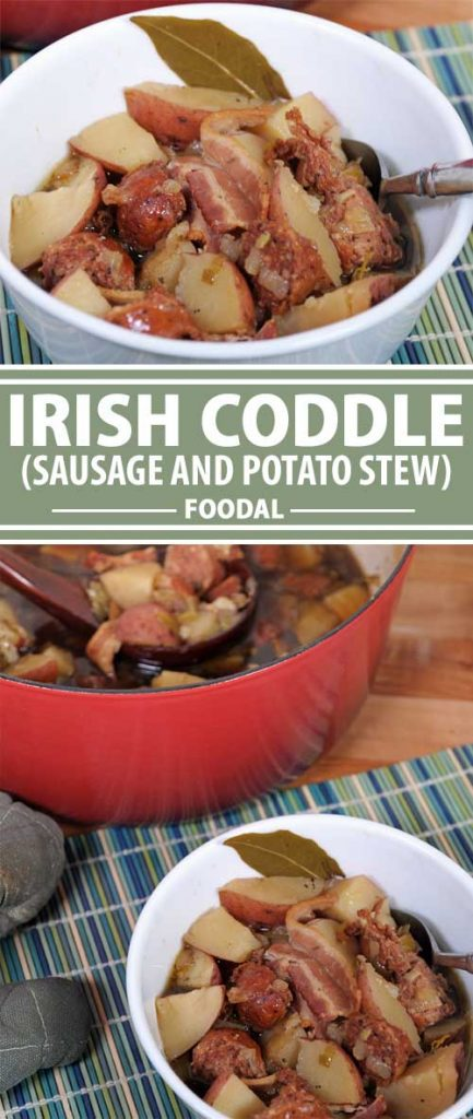 A collage of photos showing different photos of a completed Irish Coddle Stew recipe.