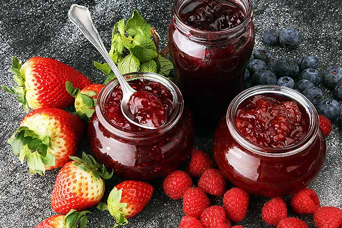 Raspberries, strawberries, blueberries, and sprigs of mint on a piece of slate, surrounding three glass jars of red fruit preserves, with a spoonful of the jelly resting on top of one jar.