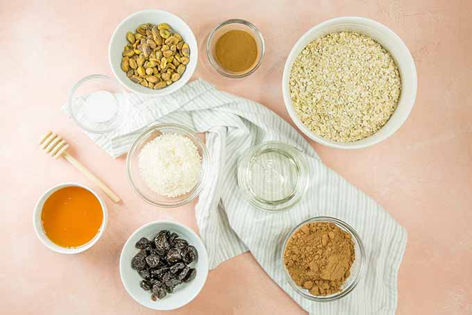 Ingredients for homemade chocolate granola cereal.