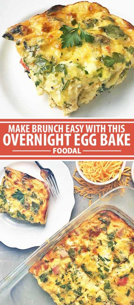 A collage of photos showcasing different views of an overnight egg bake.