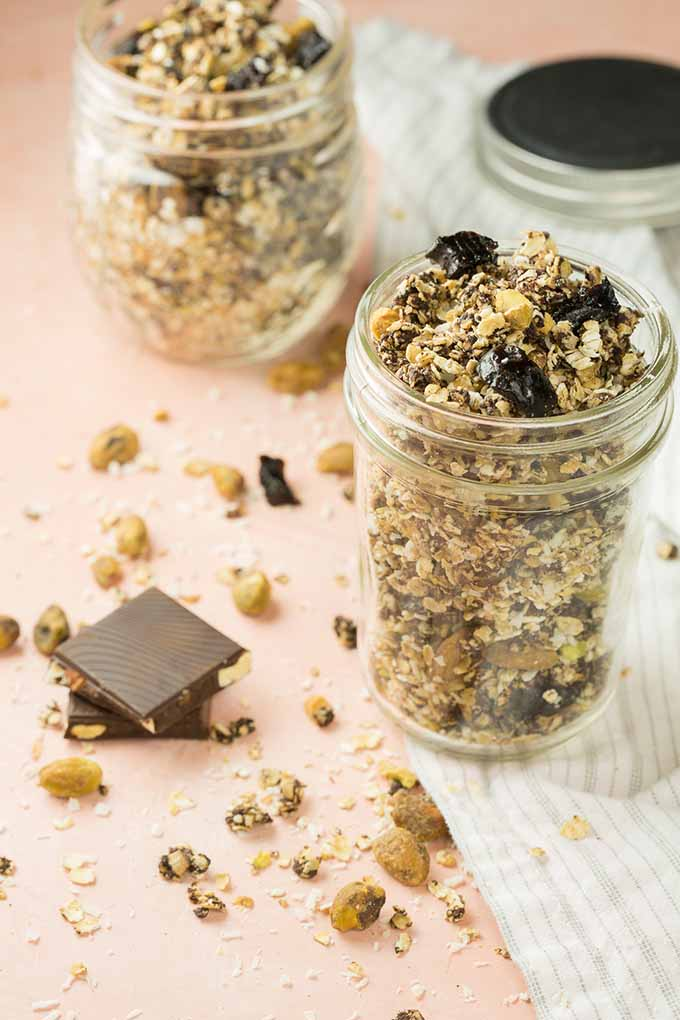 Mason jars with chocolate granola.