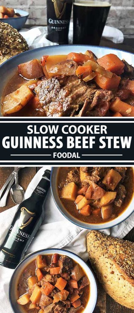 A collage of photos showing different views of an Guinness flavored beef stew in white serving bowls along with bottles of stout as accompaniment.