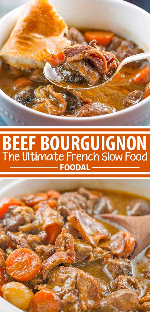 A collage of photos showing different views of a slow cooker beef bourguignon recipe.