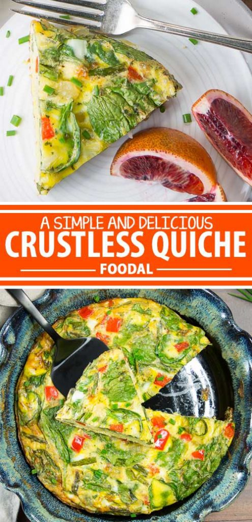 A collage of photos showing different views of a crustless quiche recipe.
