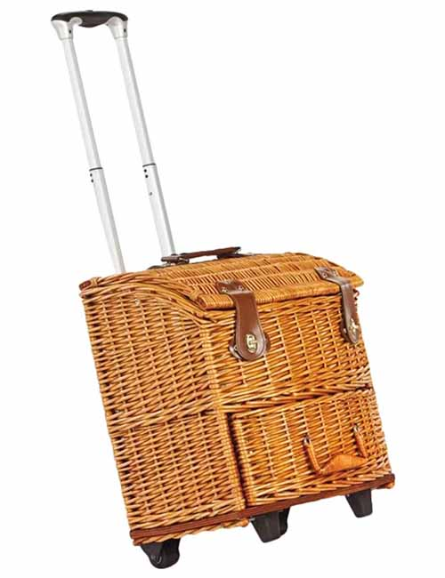 Wheeled wicker picnic basket with push handle and leatherette closures, isolated on a white background.
